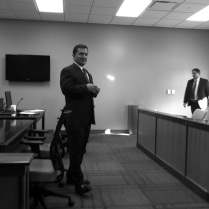 Floyd County Prosecutor Keith Henderson speaks to DCS family case managers prior to the mock trial. The training was held at Ivy Tech Community College's Southern Indiana campus in the Judge Carlton & Sue Sanders Teaching Classroom.