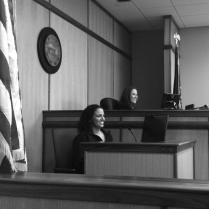 Deputy Prosecutor Jessica Bansbach plays the role of trial court judge as FCM Laura Elliott takes the stand.